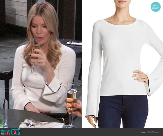 Theory Tipped Bell Sleeve Sweater worn by Nina Reeves (Michelle Stafford) on General Hospital