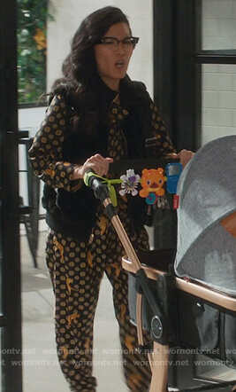 Doris's tiger print blouse and pants on American Housewife