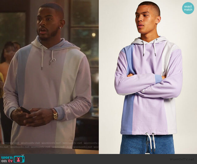 Purple Vertical Stripe Hoodie by Topman worn by Aaron Jackson (Trevor Jackson) on Grown-ish