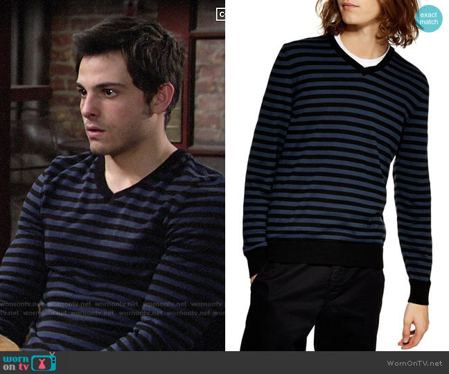 Topman Stripe V-Neck Sweater worn by Fenmore Baldwin on The Young and the Restless