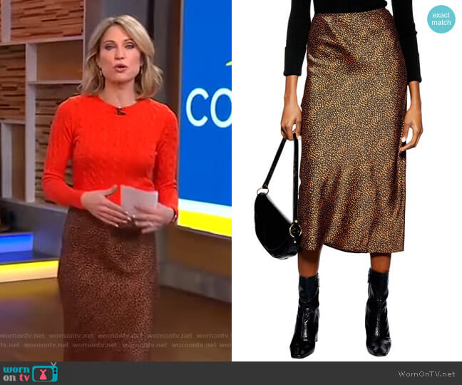 Animal Spot Midi Skirt by Topshop worn by Amy Robach  on Good Morning America