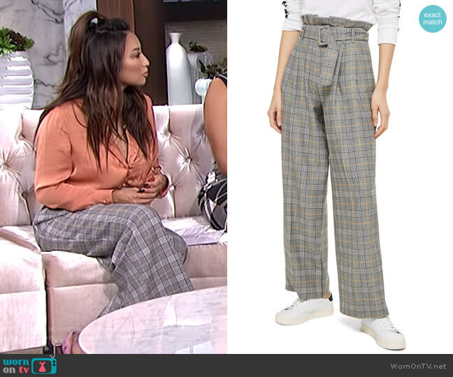 Check Wide Leg Trousers by Topshop worn by Jeannie Mai  on The Real