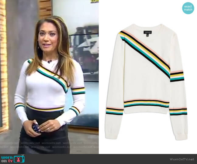 Chevron Fine Gauge Sweater by Topshop worn by Ginger Zee  on Good Morning America