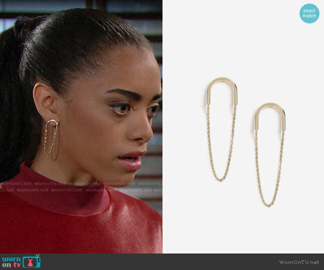 Topshop House Of Freedom Chain Drop Earrings worn by Zoe (Kiara Barnes) on The Bold & the Beautiful
