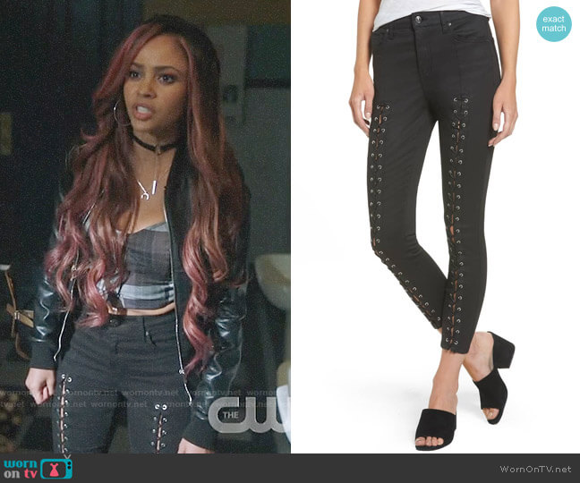 Topshop Jamie Coated Lace-Up Skinny Jeans worn by Toni Topaz (Vanessa Morgan) on Riverdale