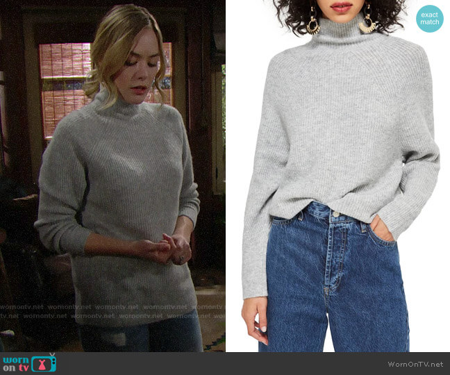 Topshop Raglan Turtleneck Neck Sweater worn by Hope Logan (Annika Noelle) on The Bold & the Beautiful