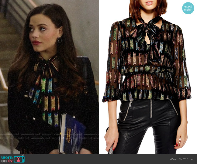 Topshop Rainbow Bow Blouse worn by Maggie Vera (Sarah Jeffery) on Charmed