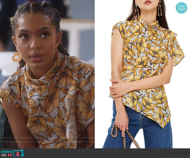 Ruffle Blouse by Topshop worn by Zoey Johnson (Yara Shahidi) on Grown-ish