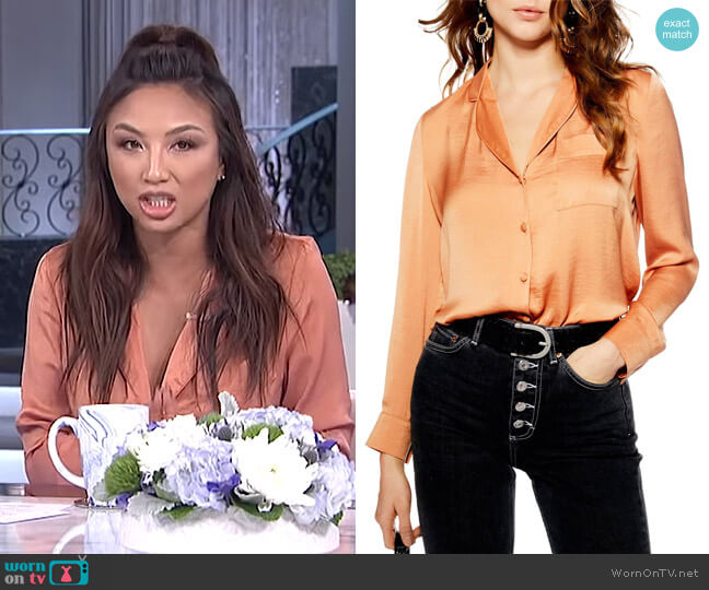 Satin PJ Shirt by Topshop worn by Jeannie Mai  on The Real