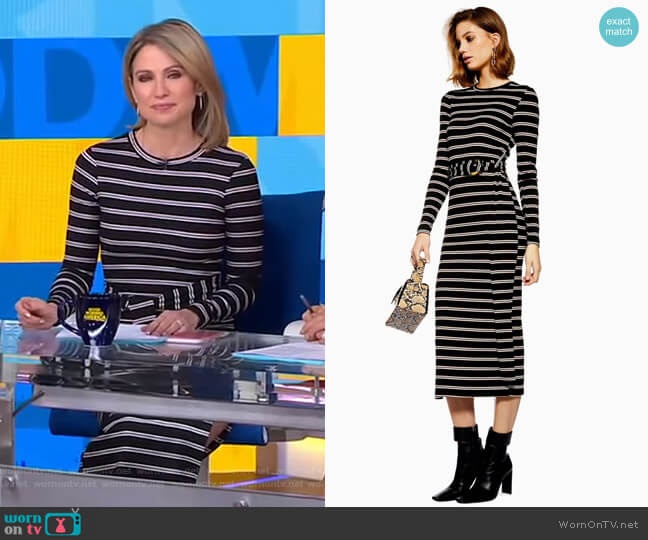 Stripe Belted Midi Dress by Topshop worn by Amy Robach  on Good Morning America