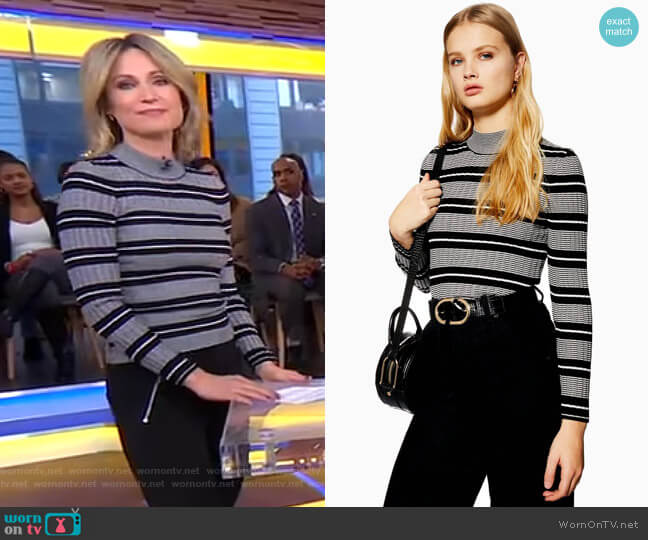 Stripe Knitted Jumper by Topshop worn by Amy Robach  on Good Morning America