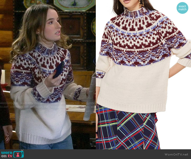 Topshop Reverse Fair Isle Sweater worn by Eve Baxter (Kaitlyn Dever) on Last Man Standing