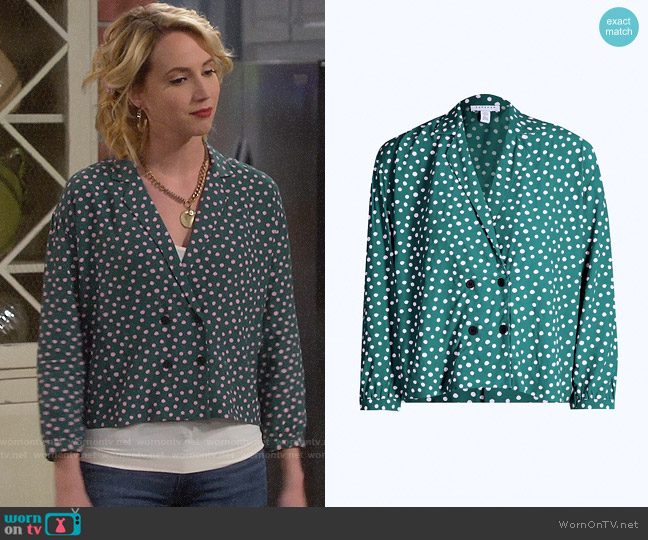 Topshop Pyjama Style Shirt worn by Mandy Baxter (Molly McCook) on Last Man Standing