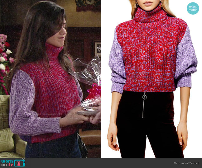 Topshop Three Color Roll Neck Sweater worn by Lola Rosales (Sasha Calle) on The Young & the Restless