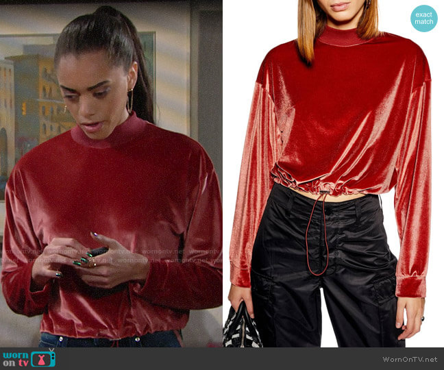 Topshop Velour Cropped Sweater worn by Zoe (Kiara Barnes) on The Bold & the Beautiful