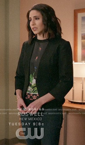 Valencia's black floral top on Crazy Ex-Girlfriend