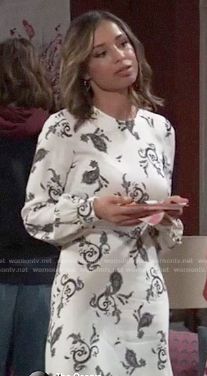Valerie's white paisley print dress on General Hospital