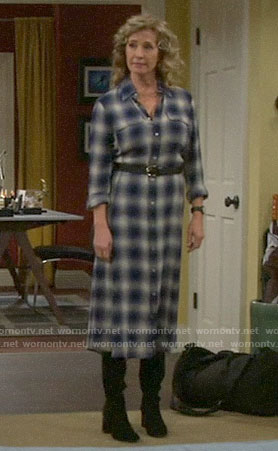 Vanessa's plaid midi shirtdress on Last Man Standing