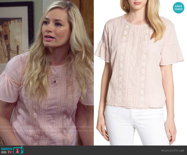 Velvet by Graham & Spencer Cotton Lace Blouse worn by Gemma (Beth Behrs) on The Neighborhood