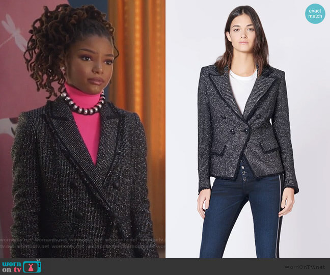 Frisco Jacket by Veronica Beard worn by Skylar Forster (Halle Bailey) on Grown-ish