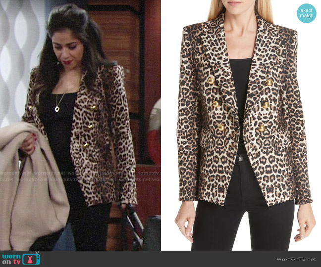 Veronica Beard Miller Leopard Blazer worn by Mia Rosales (Noemi Gonzalez) on The Young & the Restless