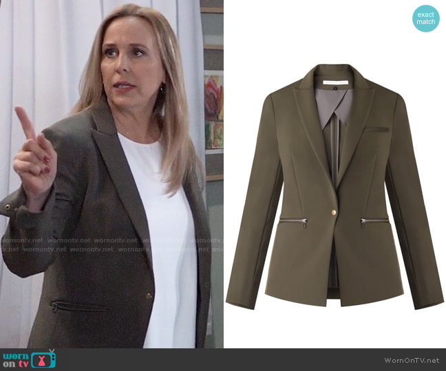 Veronica Beard Scuba Jacket in Olive worn by Laura Collins (Genie Francis) on General Hospital