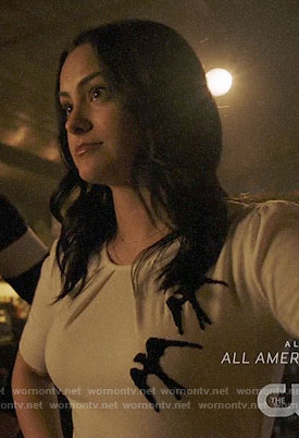 Veronica's white top with birds on Riverdale