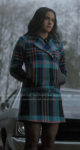 Veronica's blue plaid jacket and skirt set on Riverdale