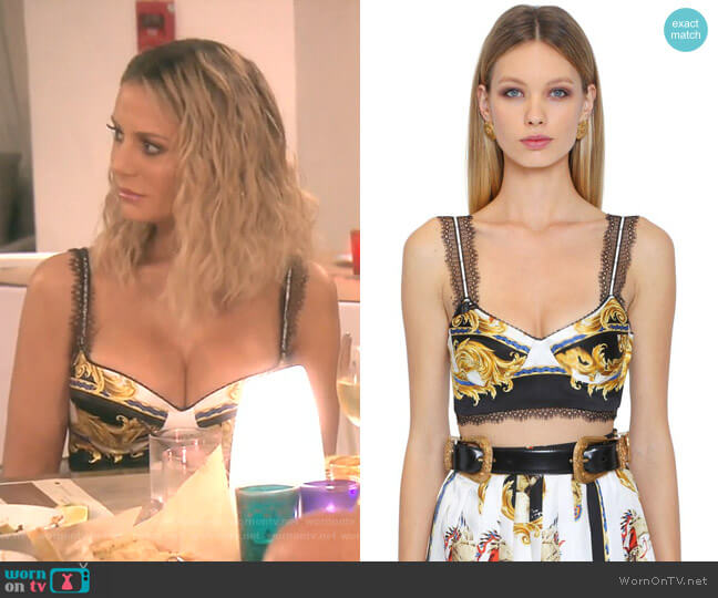 Native American Silk Crepe Crop Top by Versace worn by Dorit Kemsley  on The Real Housewives of Beverly Hills