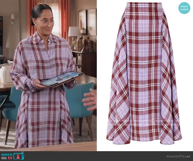 Victoria Beckham Pleated checked crinkled-taffeta skirt worn by Rainbow Johnson (Tracee Ellis Ross) on Blackish