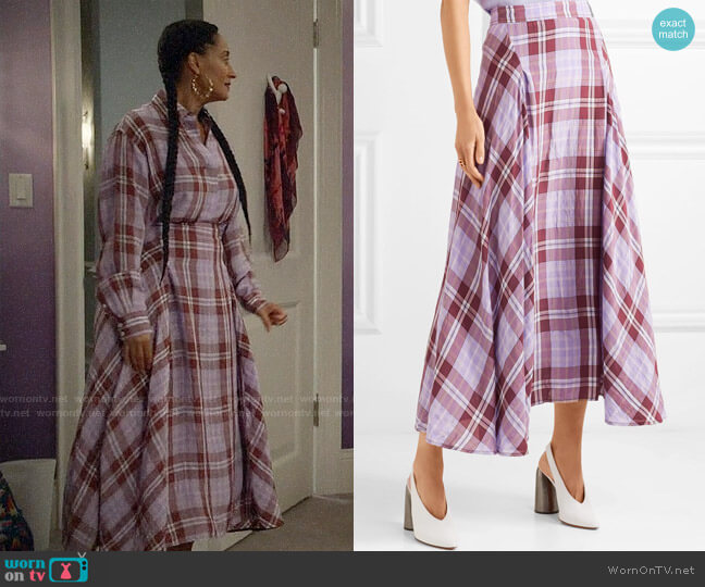Victoria Beckham Pleated checked crinkled-taffeta skirt worn by Rainbow Johnson (Tracee Ellis Ross) on Blackish