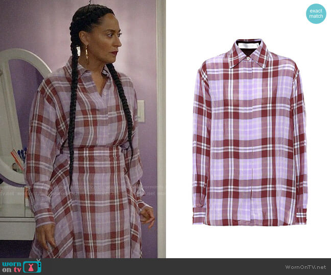 Victoria Beckham Plaid Shirt worn by Rainbow Johnson (Tracee Ellis Ross) on Blackish
