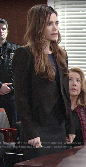 Victoria's black jacket and sheath dress on The Young and the Restless