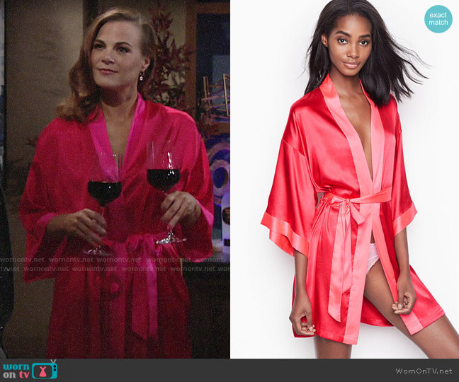 Victorias Secret Short Satin Kimono in Ignited W/Neon Hot Pink Trim worn by Phyllis Newman (Gina Tognoni) on The Young & the Restless