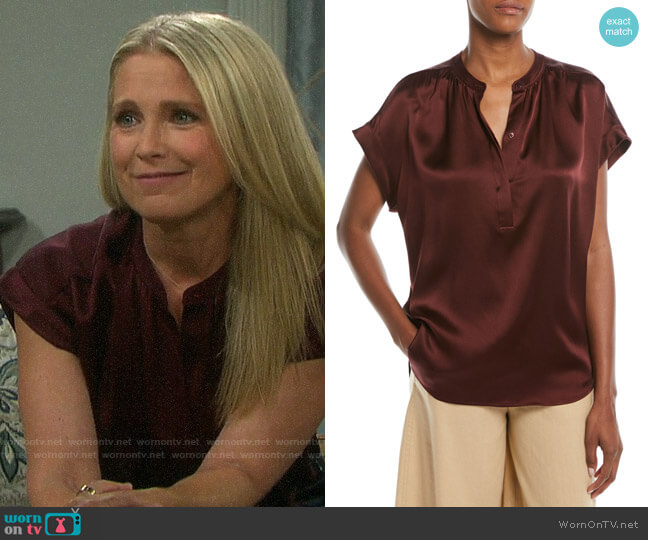 Vince Silk Shirred-Neck Cap-Sleeve Blouse worn by Jennifer Horton (Melissa Reeves) on Days of our Lives