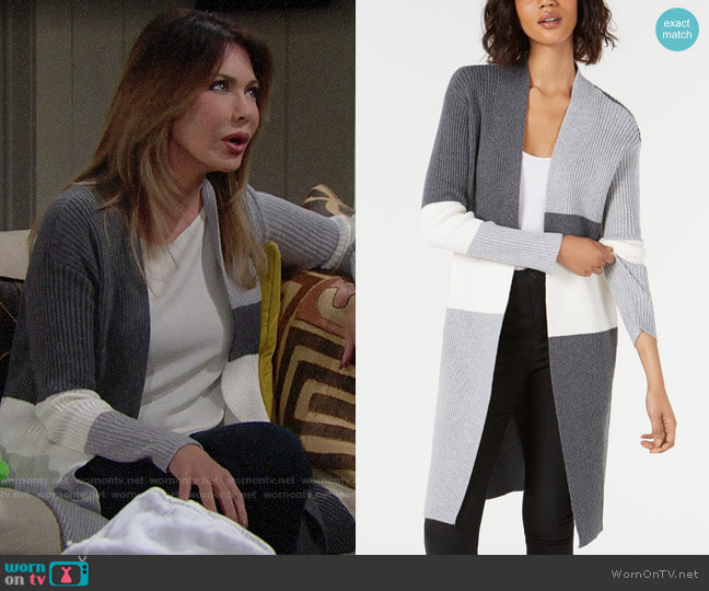 Vince Camuto Colorblocked Open-Front Cardigan worn by Taylor Hayes (Hunter Tylo) on The Bold & the Beautiful