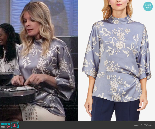 Vince Camuto Bouquet Print Mock Neck Blouse worn by Nina Reeves (Michelle Stafford) on General Hospital