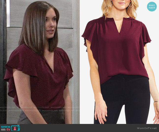 Vince Camuto Flutter Sleeve Blouse worn by Willow Tait (Katelyn MacMullen) on General Hospital