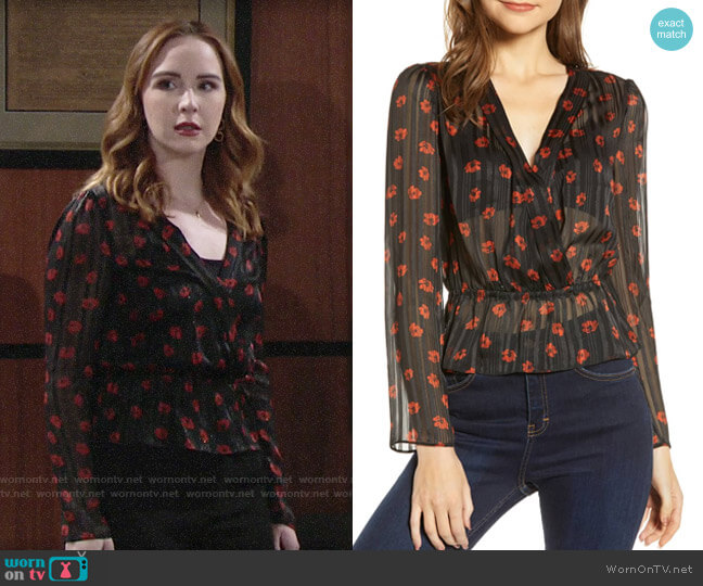 WAYF Virginia Peplum Top worn by Mariah Copeland (Camryn Grimes) on The Young & the Restless