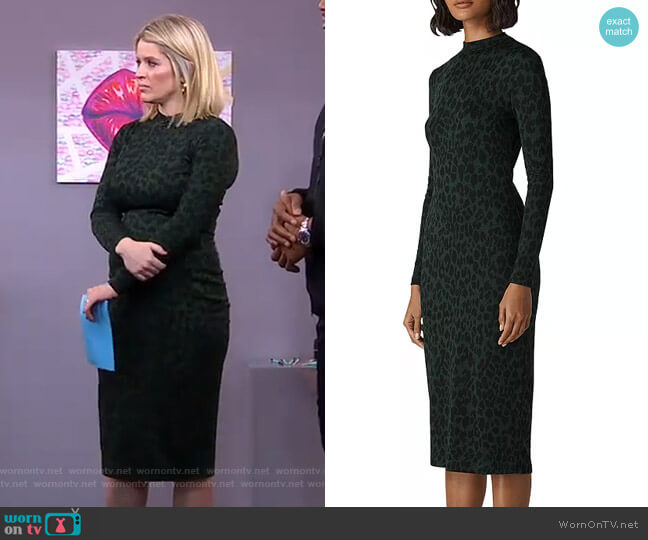 Leopard-Print Jersey Dress by Whistles worn by Sara Haines  on Good Morning America