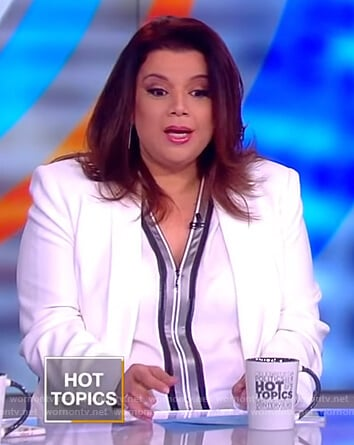 Ana's white contrast trim blouse on The View
