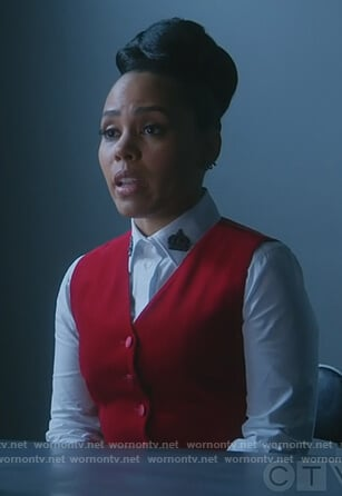 Tegan's white embellished collar blouse and red vest on How to Get Away with Murder