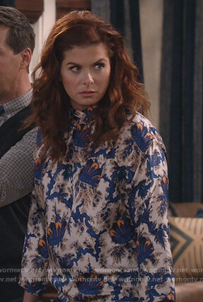 Grace's white print high neck blouse on Will and Grace