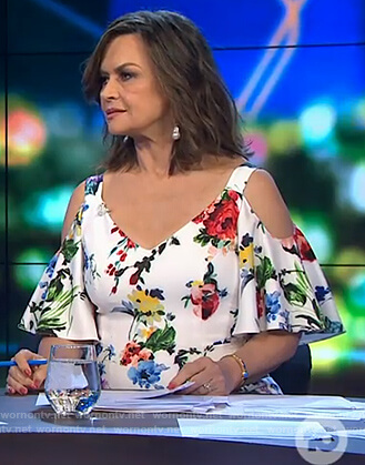 Lisa's white floral cold shoulder dress on The Project