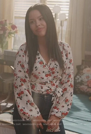 Mariana's white floral wrap top on Good Trouble