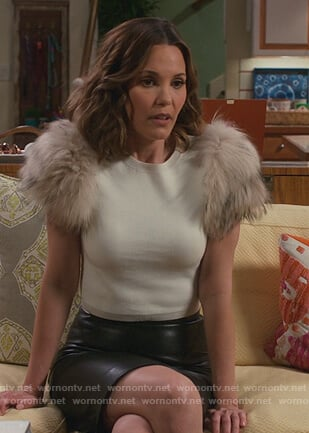 Viv's white fur shoulder sweater on American Housewife