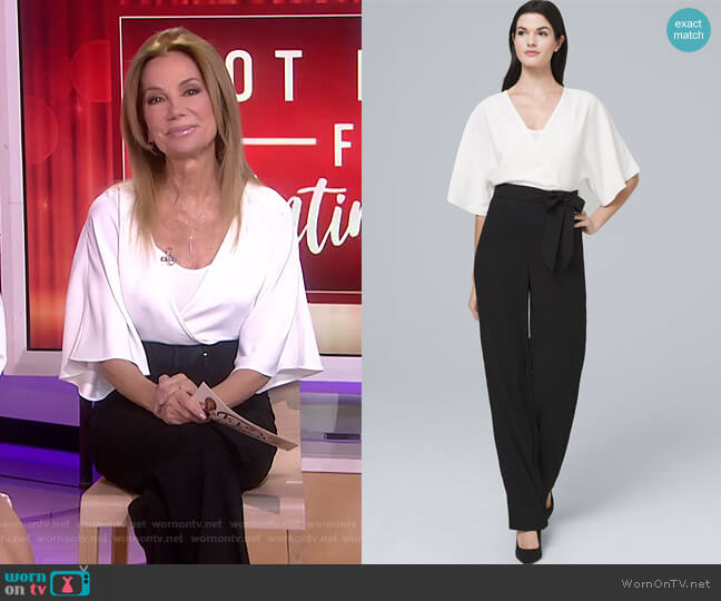 Kimono-Sleeve Contrast Jumpsuit by White House Black Market worn by Kathie Lee Gifford  on Today
