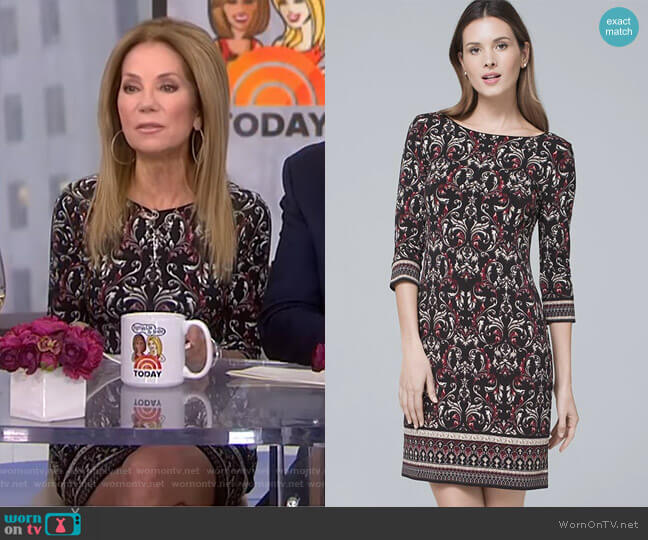 Ultimate Reversible Arabesque Print Shift Dress by White House Black Market worn by Kathie Lee Gifford  on Today