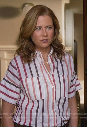 Lena's white striped short sleeve blouse on Splitting Up Together