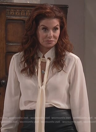 Grace's ivory tie neck blouse on Will and Grace